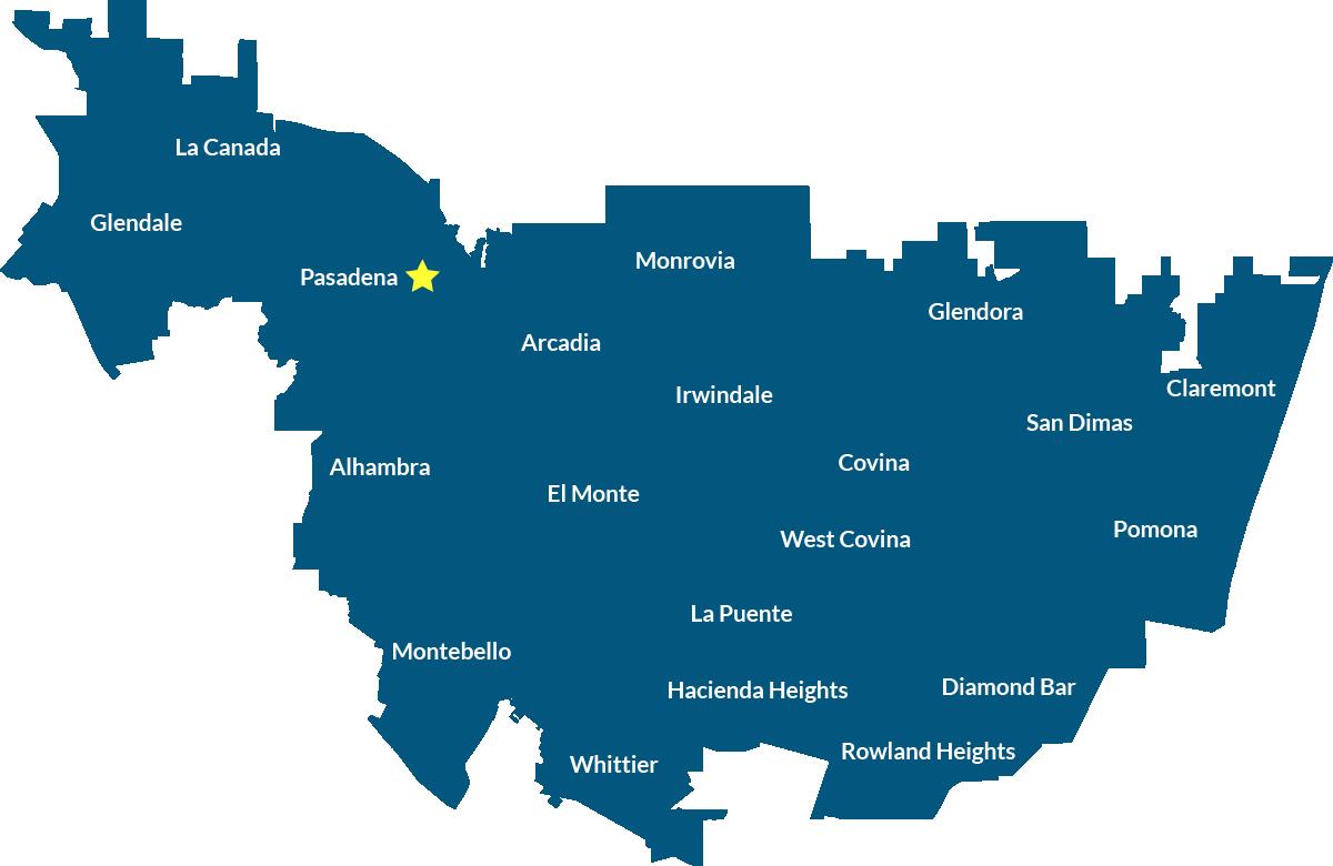 CAS Pasadena Service Area Map